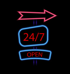 Neon poster 247 is open on a black background vector