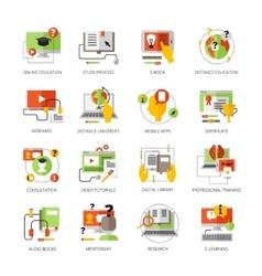 Online education flat color pictograms set vector