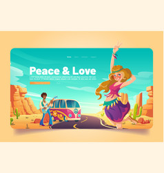 peace and love banner with hippie in desert vector image