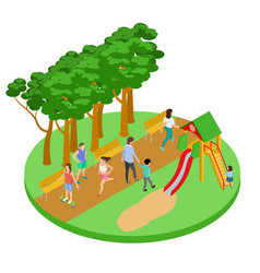 people have relax in park isometric concept vector image