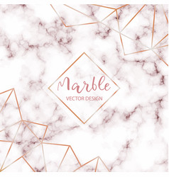 Pink marble design template with abstract gold vector
