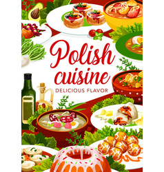 Polish cuisine food poster dishes and meals menu vector