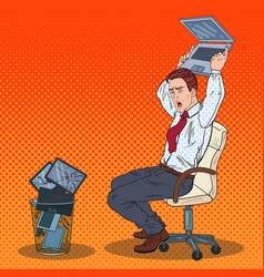 Pop art angry businessman throws out laptop vector