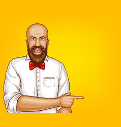 pop art excited bald bearded man vector image