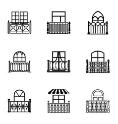 Porch icons set simple style vector