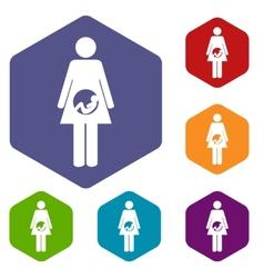 Pregnancy rhombus icons vector