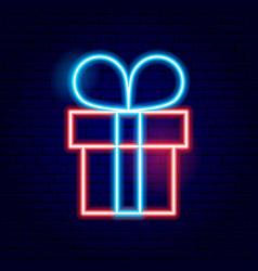 present box neon sign vector image