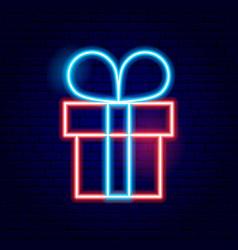 Present box neon sign vector