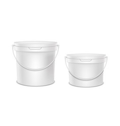 Realistic detailed 3d white blank plastic bucket vector