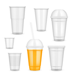 Realistic transparent disposable plastic vector