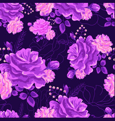 Rose cute seamless pattern violet-01 vector