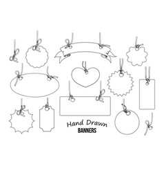 set hand drawn labels and banners hand drwn vector image
