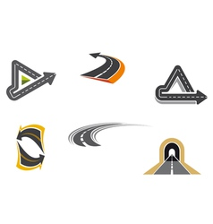 Set of road and highway icons vector