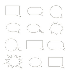 Set of speech bubbles chat bubbles black line vector