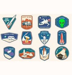 Set space mission logo badge patch vector