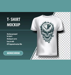 Skull with a hole in the head t-shirt template vector