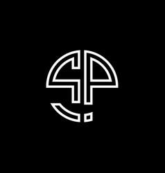 sp monogram logo circle ribbon style outline vector image