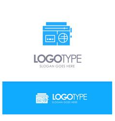 tape radio music media blue logo vector image