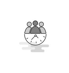 team on time web icon flat line filled gray icon vector image