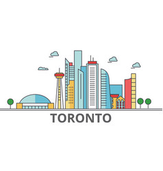 toronto city skyline buildings streets vector image