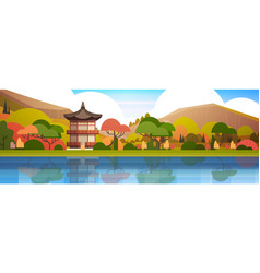 Traditional south korea landscape palace or temple vector