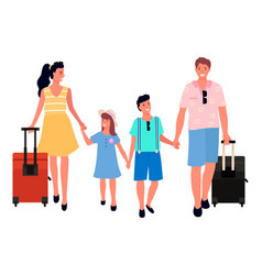 traveling family mother father children vector image