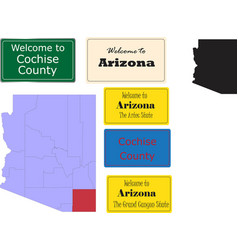 us arizona statecochise county map and road sign vector image