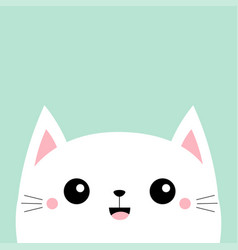 White cat kitten kitty smiling icon cute face vector
