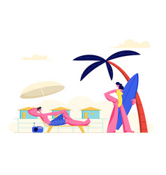 young couple spending vacation on beach woman vector image
