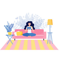young woman reading a book sitting in yoga pose on vector image