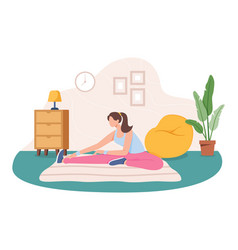 young woman working out at home vector image