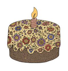 Zen tangle and doodle floral pie zendoodle cake vector