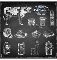 hand drawn with milk products vector image vector image