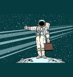 hitchhiker astronaut with travel suitcase vector image vector image