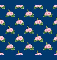 pink hollyhock on indigo blue background vector image vector image