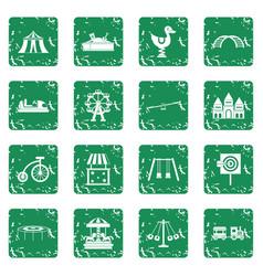 amusement park icons set grunge vector image vector image