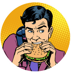 businessman eating a burger and talking on the vector image
