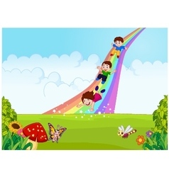Cartoon little kids playing slide rainbow in the j vector image