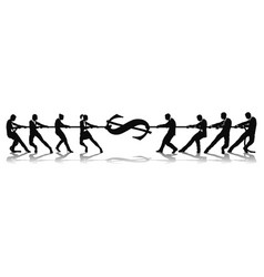 fighting for wage equality tug of war concept vector image vector image