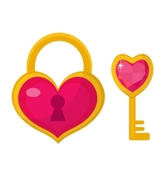 Heart lock and key icon flat design Valentines vector image vector image