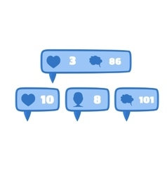 Like follower and comment social media blue vector