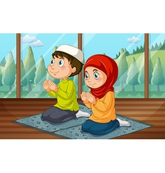 Muslim boy and girl praying in the room vector image