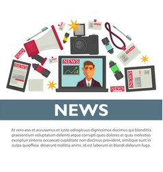 news poster flat design of tv reporter and vector image vector image