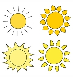 Set of hand drawn yellow sun icon vector image vector image