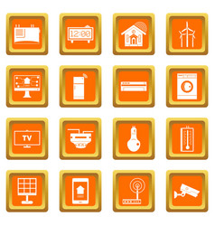 Smart home house icons set orange vector