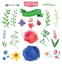 Watercolor floral decor branchesflowers set vector image