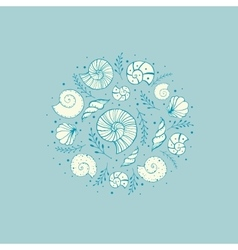 Background with ammonites and seashells vector image vector image