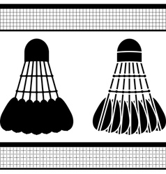 badminton shuttlecock silhouette and stencil vector image vector image