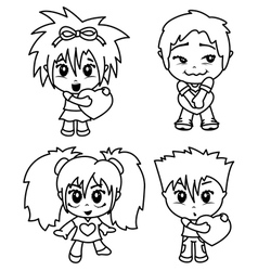 characters with heart vector image vector image