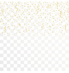 golden confetti and gold ribbons on transparent vector image vector image